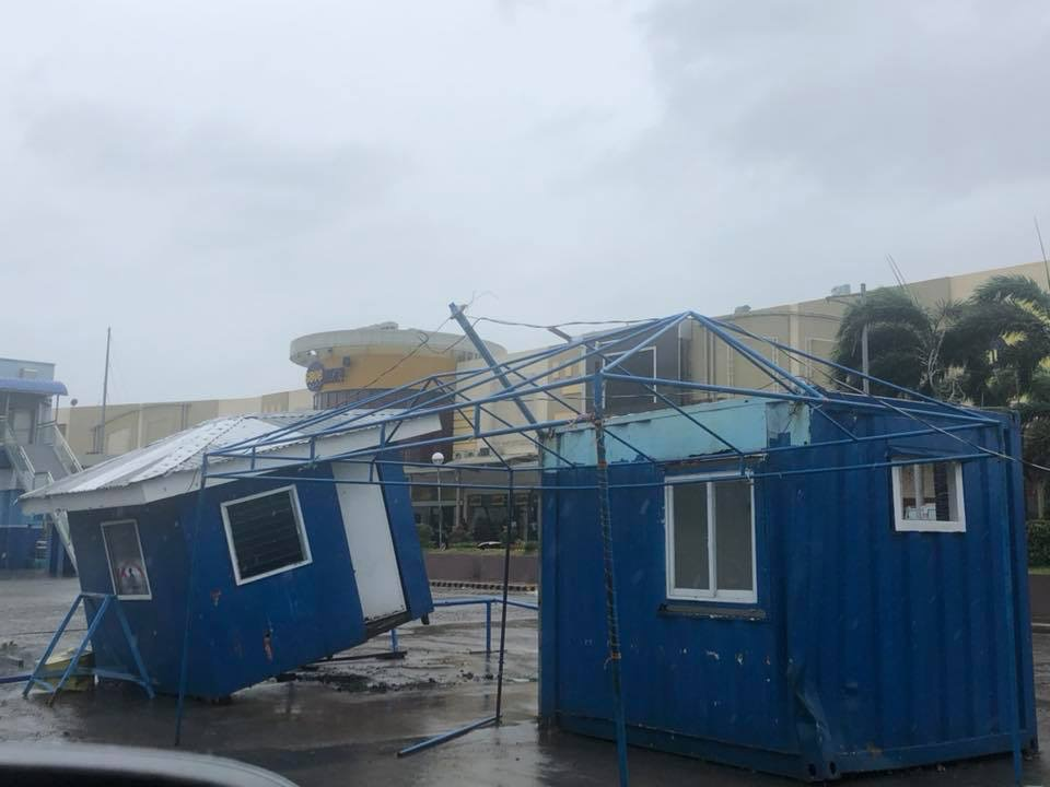 TILTED. Public order and safety sheds in Ilagan City became tilted as Typhoon Rosita battered Isabela. Photo by Fr Grevie Uanan