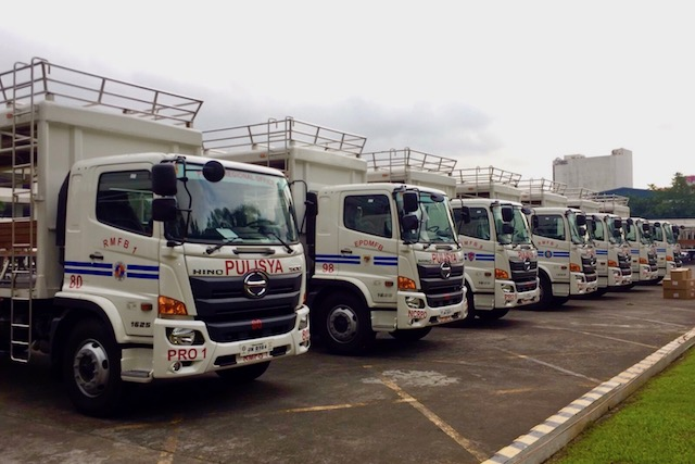FOR MOBILITY. Utility trucks are parked inside Camp Crame for their presentation. Sourced photo