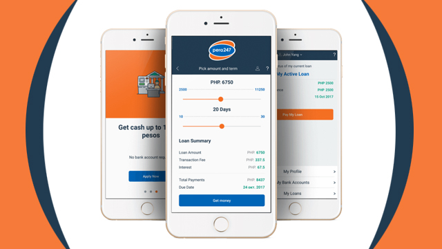 LAUNCHING LOANS. A image of pera247 mobile-app based interface. Image from AsiaKredit's website.