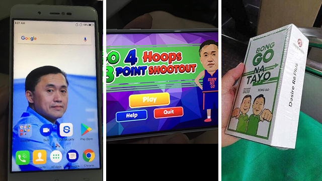 BONG GO PHONES. Cherry Mobile phones with Bong Go packaging, wall paper, and games are distributed at a government event for youth. Photos from social media