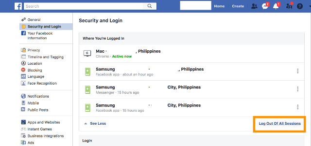 PROTECT YOUR ACCOUNT. To make sure your Facebook account is not used without your knowledge to access third party apps connected to it, log out of existing sessions under the Security and Login dashboard of your Facebook account after changing your password.
