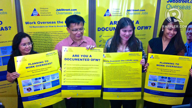 LEGAL. POEA Deputy Administrator Amuersina Reyes, POEA Administrator Hans Leo Cacdac, Jobstreet.com Country Manager Mary Grace Colet, and Jobstreet Marketing Manager Carolyn Enriquez campaign against illegal recruitment of OFWs. Photo by Ace Tamayo/Rappler