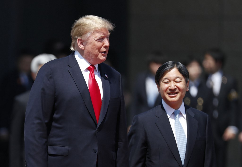 HISTORIC MEET. US President Donald Trump is wlecomed by Japan's Emperor Naruhito during a ceremony at the Imperial Palace in Tokyo on May 27, 2019. Photo by Issei Kato/Pool/AFP