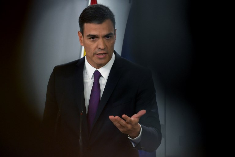 COP25. In this file photo taken, Spanish Prime Minister Pedro Sanchez gives a press conference at the Moncloa Palace in Madrid on August 3, 2018. File photo by Pierre-Philippe Marcou/AFP