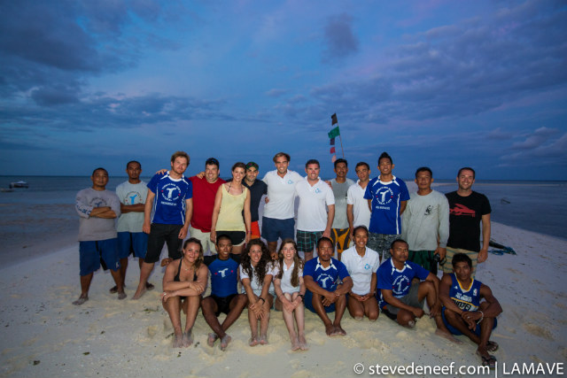 SUCCESS. The team stands together on a sand bar in the middle of the Sulu Sea with the WWF Navorca Crew and the incredible Rangers of Tubbataha Reefs Natural Park. Steve de Neef/LAMAVE