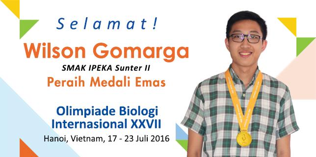 Siswa SMA IPEKA, Wilson Gomarga, rebut emas di International Biology Olympiad 2016. Foto dari ipeka.org