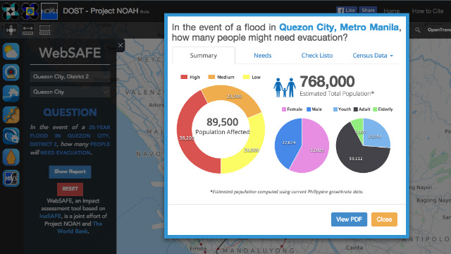 IMPACT ASSESSMENT. The improved WebSafe tool on the Project Noah website estimates the number of people and buildings that maybe affected by a particular hazard. Screengrab from Project Noah website