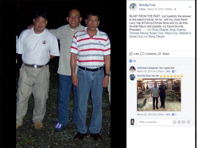 PHOTO FROM 2015. Senator Antonio Trillanes IV presents this photo of long-time Davao City Mayor Rodrigo Duterte with Daniel 'Snooky' Cruz, from a supposed screenshot of Cruz's Facebook account. Photo from Trillanes' PowerPoint presentation