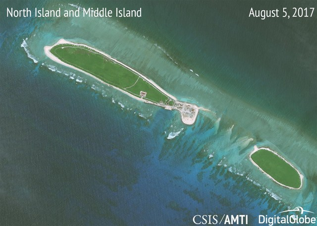 MONITORING CHINA. The photo shows recent progress made by China in its land reclamation activities in the South China Sea. Photo courtesy of CSIS/AMTI and DigitalGlobe