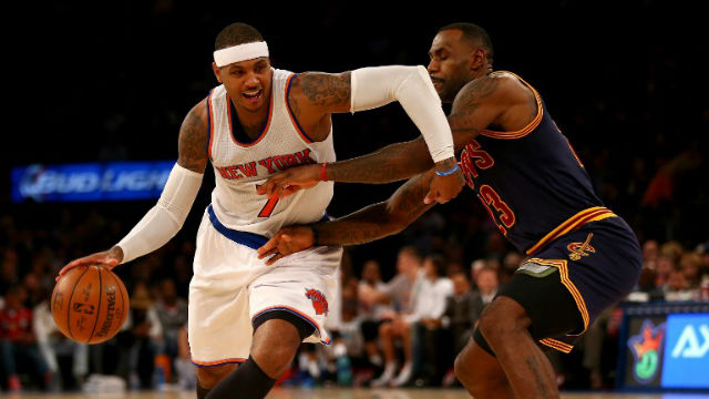 HELLO, OLD FRIEND. Carmelo Anthony (L) and LeBron James (R) will square off to open the NBA season. ELSA / GETTY IMAGES NORTH AMERICA / AFP