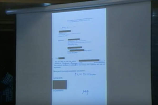 REFERRAL. Senator Bong Go said this is an alleged copy of the referral letter from Lagman's office. Screengrab from Senate stream