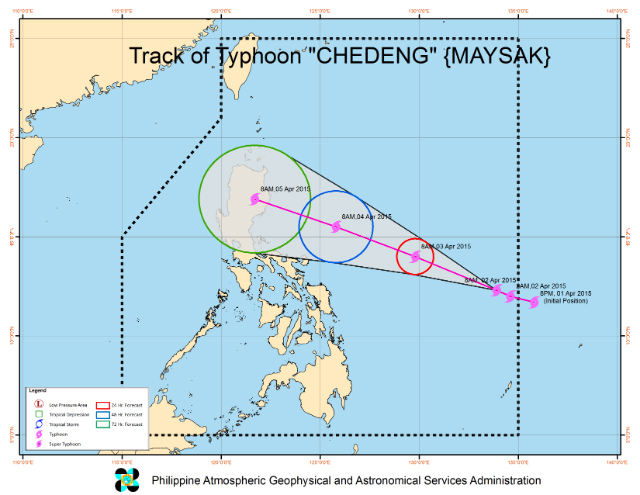 Track of Typhoon Chedeng as of 8 am Thursday, April 2. Image courtesy of PAGASA