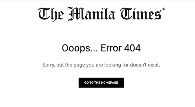 TAKEN DOWN. The Manila Times takes down its story about the supposed appointment of Justice Diosdado Peralta as Chief Magistrate of the Supreme Court.