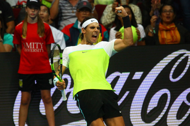 EMOTIONS. Rafa Nadal displays his emotions as he celebrates a point during his tight match against Milos Raonic. Photo by Josh Albelda/Rappler