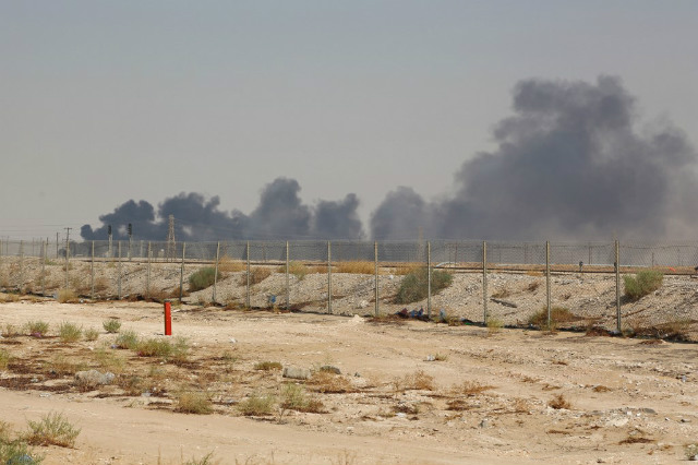 ATTACKS. Smoke billows from an Aramco oil facility in Abqaiq about 60km (37 miles) southwest of Dhahran in Saudi Arabia's eastern province on September 14, 2019. Photo from AFP