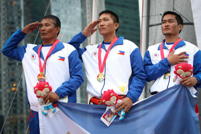 Ridgely Balladares, Rommel Chavez and Richly Magsanay won the Philippines its first sailing SEA Games gold in a decade. Photo by Singapore SEA Games Organising Committee/Action Images via Reuters