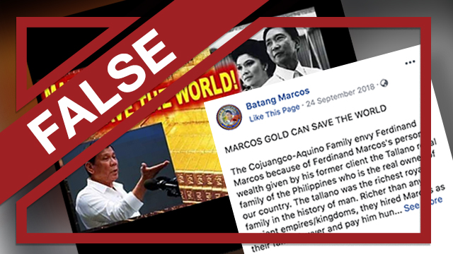 A screenshot of a Facebook post that claims the Marcoses were given gold bars by a 'Filipino royal family' whose last name is Tallano.