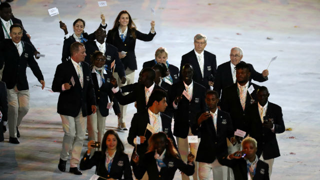 GREAT MOMENT. The Refugee Team marches during the opening of the Olympics. Photo by EPA/ESTEBAN BIBA