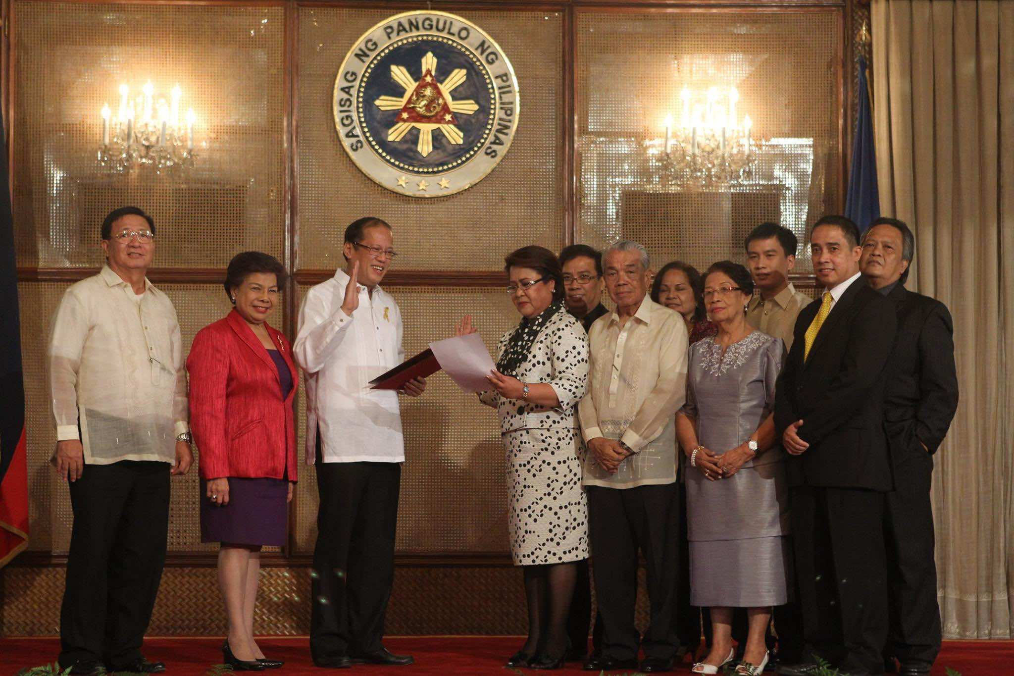 OATH-TAKING. De Lima with her family at her oath-taking as justice secretary in 2010. Sourced photo