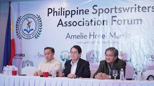 EMBATTLED. Philippine Olympic Committee (POC) president Ricky Vargas (center), chairman Bambol Tolentino (left) and Ed Picson (right) grace the weekly Philippine Sportswriters Association forum. Photo release