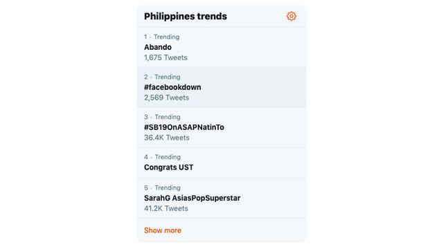 TRENDING. In the Philippines, #FacebookDown trends on Twitter.