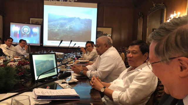 LOGGING IN MINDANAO. President Duterte is shown a video of a deforested area in a Zamboanga mountain range. Photo from Manny Piu00f1ol Facebook