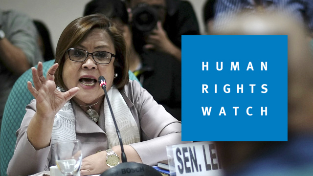POLITICALLY MOTIVATED. Drug charges against Senator Leila de Lima should be dropped, according to Human Rights Watch. File photo by Joseph Vidal/Senate PRIB