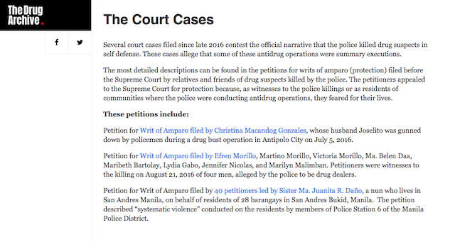 CASES MONITORED. The cases filed in court are listed and given a summary. Screengrab from The Drug Archive website