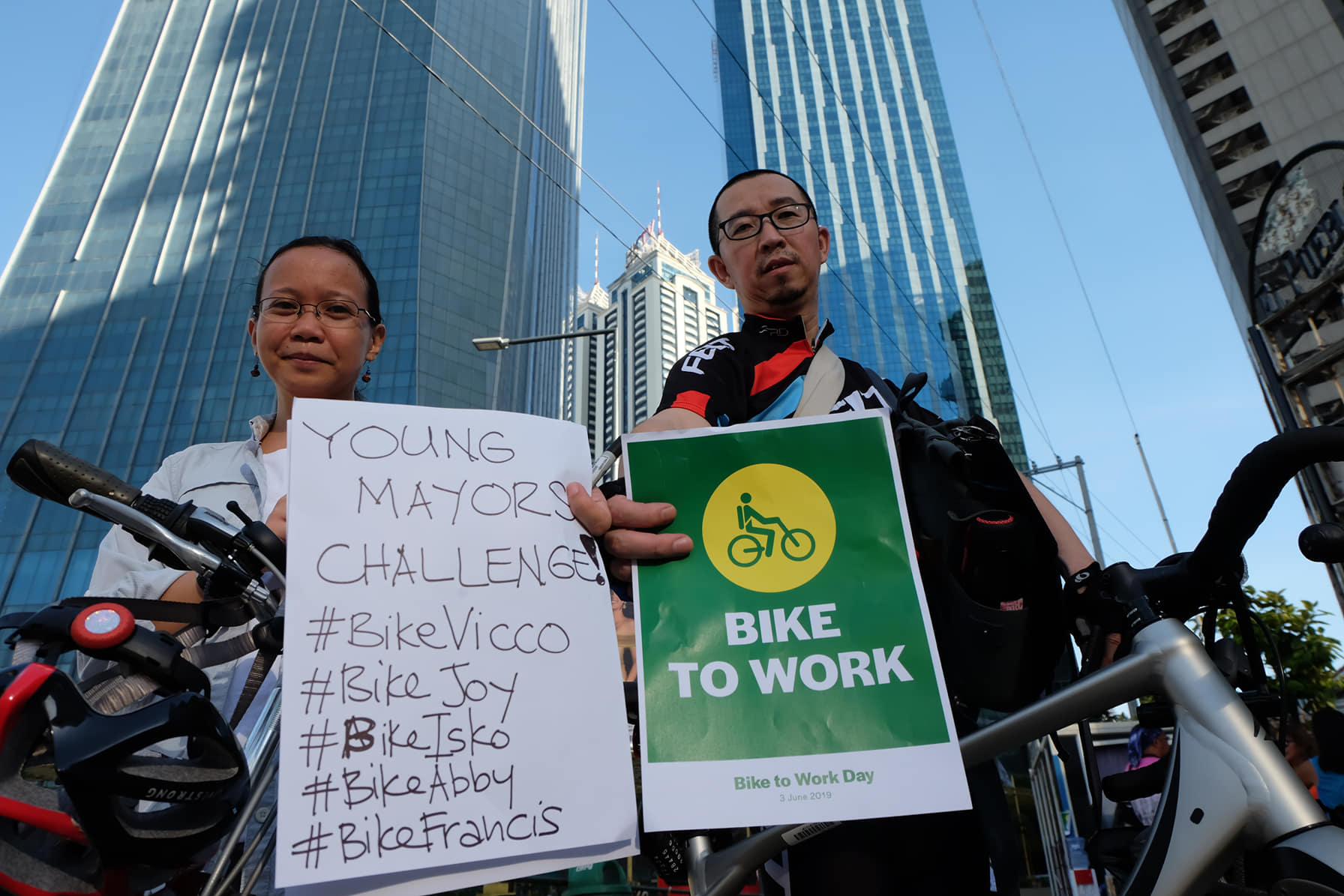 CHALLENGE. The Institute for Climate and Sustainable Cities participates in a World Bicycle Day event organized by Manila Moves and other groups in Ortigas on June 3, 2019. The think tank calls for elected young mayors in Metro Manila to make their cities friendly for bike commuters. All photos by AC Dimatatac