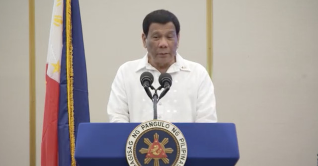 MESSAGE FOR OBAMA. President Rodrigo Duterte gives a speech in front of overseas Filipino workers in Jerusalem. RTVM screenshot