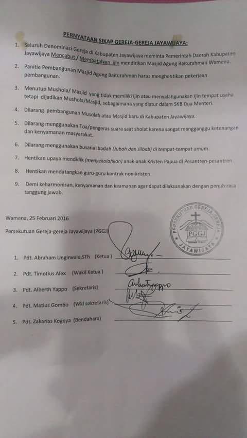 LARANGAN. Persatuan Gereja-Gereja Jayawijaya (PPGJ) meminta pemerintah daerah setempat mencabut izin pembangunan Masjid Agung Baiturahman di Wamena. Dokumen istimewa