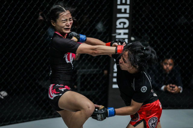 Jomary Torres lands a right hand to the chin of her fancied opponent in an upset win. Photo from ONE Championship