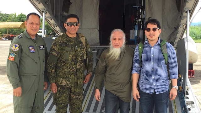 OFF TO MANILA. Marawi City priest Teresito 'Chito' Soganub is flown to Manila two days after his rescue. Photo courtesy of Zia Alonto Adiong