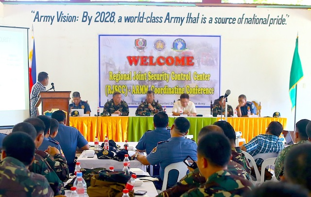ARMM ELECTION PREPARATIONS. The Joint Security Coordinating Council meeting of Comelec, Army, police and PPCRV on election preparations in the ARMM. Photo by Ferdinandh Cabrera/Rappler
