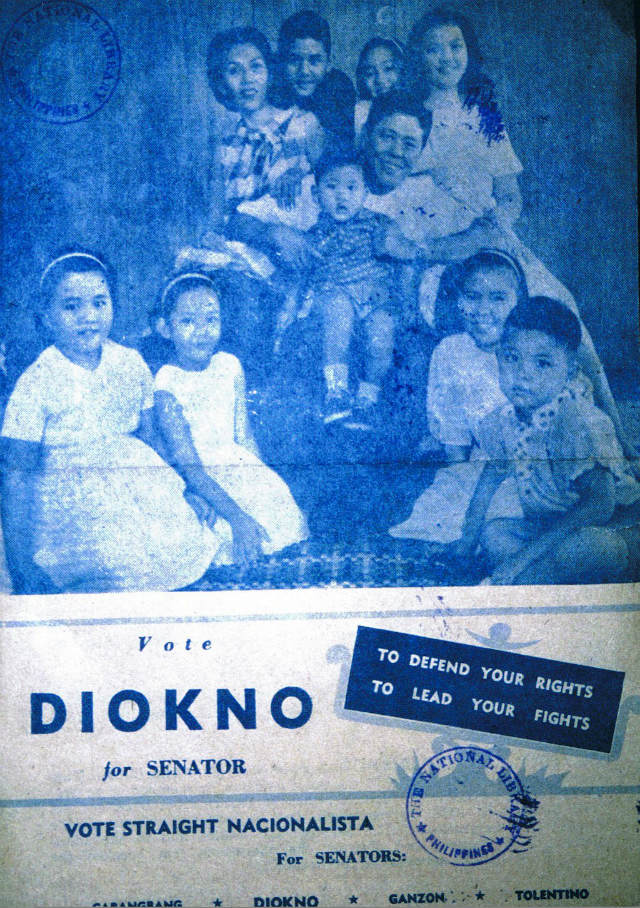 FOR SENATOR. Campaign material for Jose Diokno. Photo courtesy of the Diokno Foundation