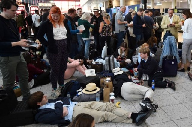 LIMITED FLIGHTS. Passengers stranded after flights were delayed due to drone incidents. File photo by AFP