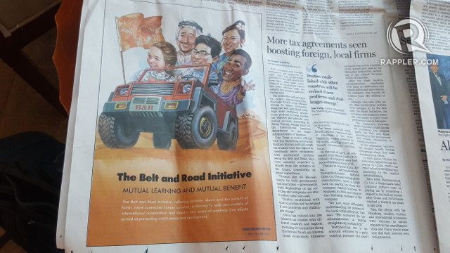 CHINA LEADING THE WAY. An advertisement for the Belt and Road Initiative in a May 12 edition of a Chinese newspaper shows China behind the stirring wheel. Photo by Pia Ranada/Rappler