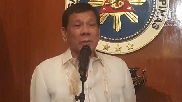 DECIDING ON FREE TUITION. President Rodrigo Duterte holds a press conference in Malacau00f1ang on August 7, 2017.