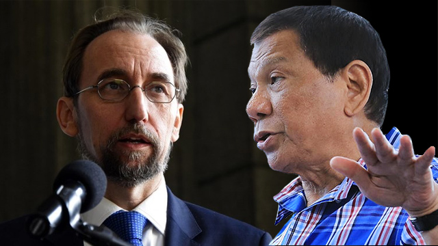 WORD WAR. President Rodrigo Duterte has called UN High Commissioner on Human Rights Zeid Ra'ad Al Hussein 'emtpy-headed.' Zeid file photo from Johan Ordonez/AFP; Duterte file photo from Malacau00f1ang