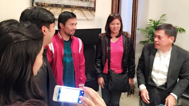 WELL-WISHERS. Jolo Revilla (back turned) and Lani Mercado (in pink shirt) pay Manny Pacquiao a visit in Los Angeles, California. Photo from ElizaRica Anderson's Facebook account