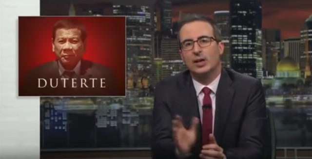 'GROTESQUE, UNCOMFORTABLE.' John Oliver devotes a segment of his HBO show to making fun of President Rodrigo Duterte's controversial kiss. Youtube screenshot
