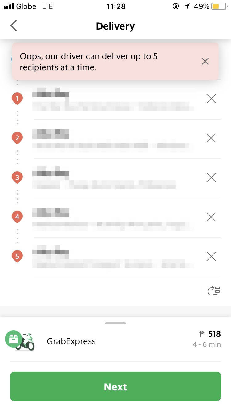 MULTI-STOP. Deliveries can be sent up to 5 people. Grab app screengrab