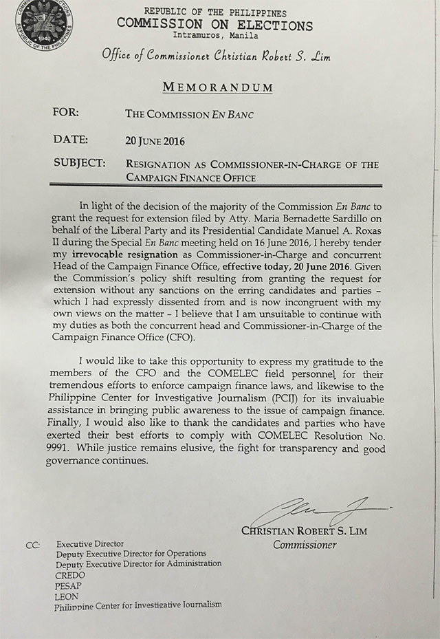RESIGNATION LETTER. A copy of the resignation letter of Comelec Comm. Christian Robert Lim as head of the Campaign Finance Office. Michael Bueza/Rappler