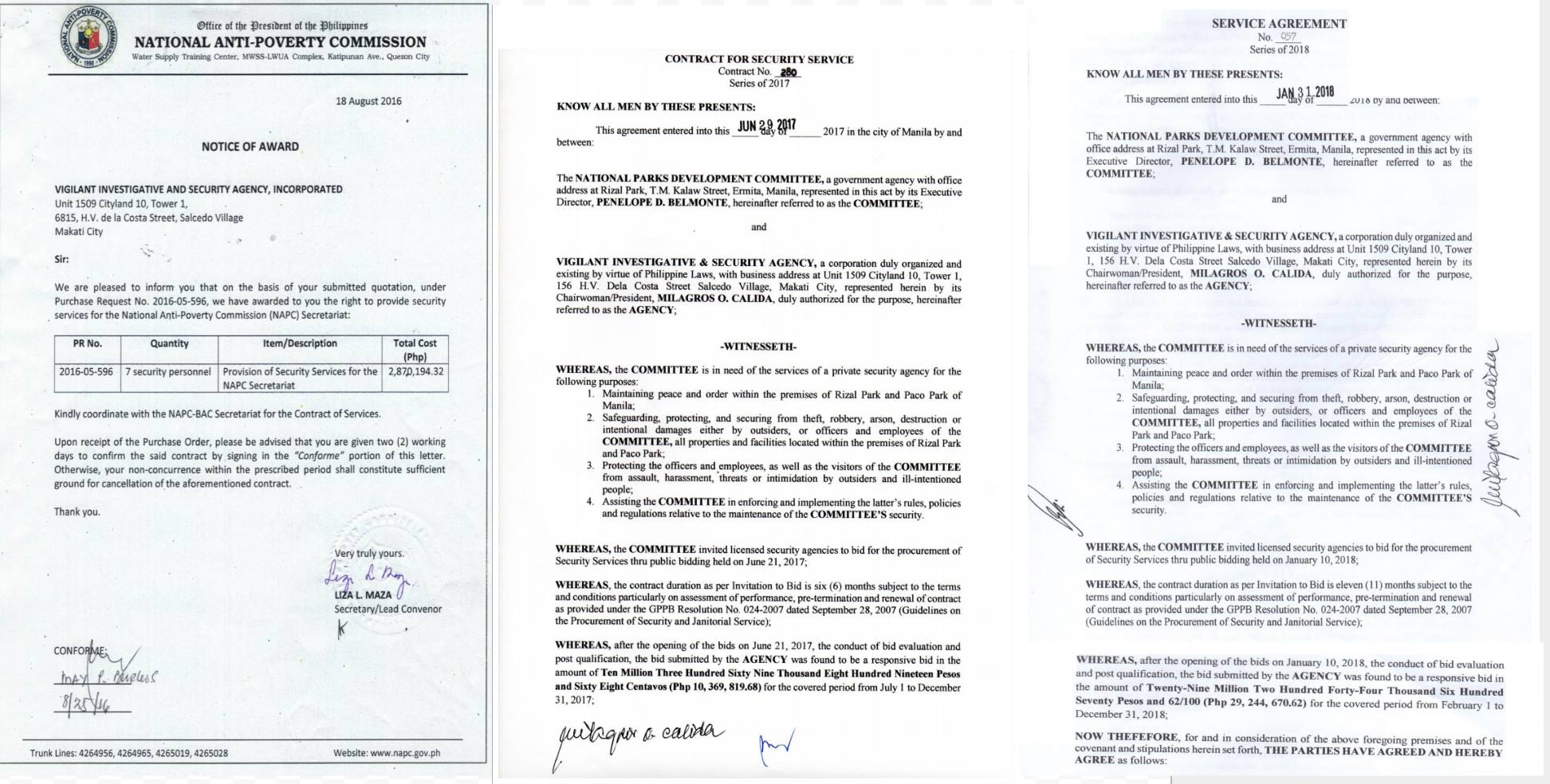 CONTRACTS. Documents show the notice of award and contracts given to Vigilant by the National Anti-Poverty Commission and the National Parks Development Committee.