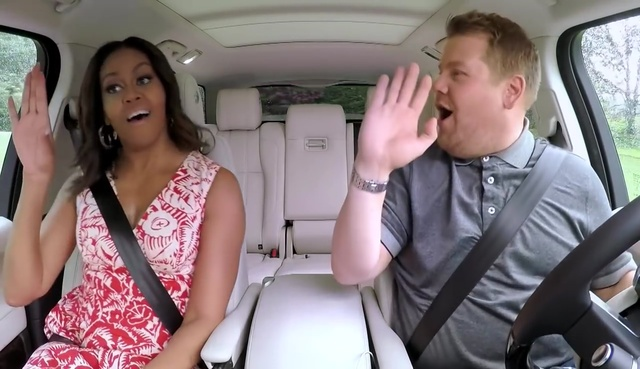 FLOTUS. James Corden gets a tour from none other than the First Lady of the United States, Michelle Obama. Screengrab from YouTube/The Late Late Show with James Corden