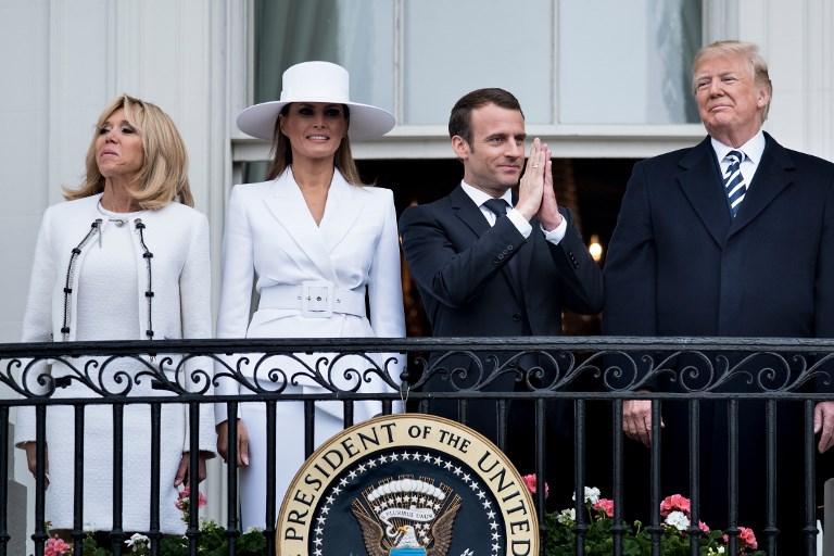 WELCOME. Brigitte Macron (left), US First Lady Melania Trump, French President Emmanuel Macron, and US President Donald Trump stand on the Truman Balcony during a state welcome ceremony on the South Lawn of the White House on April 24, 2018 in Washington, DC. Photo by Brendan Smialowski / AFP