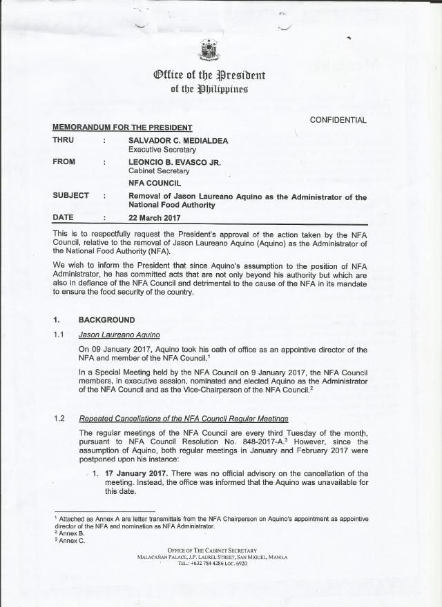 Evasco's letter to President Duterte seeking removal of Jason Aquino as NFA Administrator. Rappler sourced document