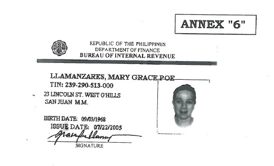 Taxpayer's Identification Number. (Photo by Office of Sen. Grace Poe)