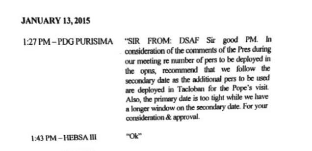 The text exchange between Purisima and Aquino on January 13, 2015. Screenshot from Ombudsman Conchita Carpio Morales' resolution