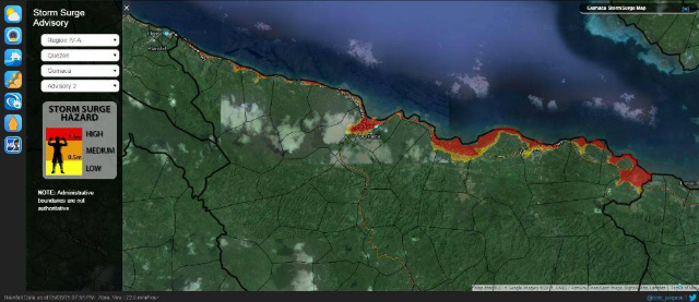 TIMELY. A sample storm surge hazard map in Gumaca, Quezon during Typhoon Nina (Nockten) in 2016. Screenshot from Project NOAH's official blog site